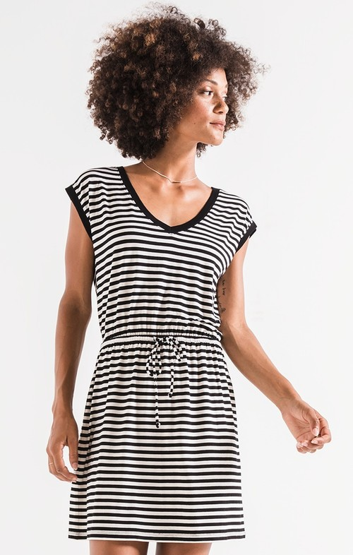 Black Striped Shirred Dress