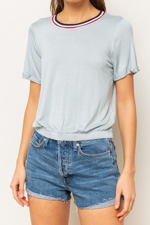 Stripe Trimmed Bubble Hem Boxy Crop Top
