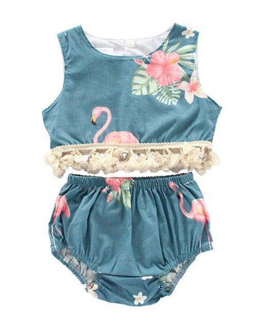 Tropical Flamingo Fringe Crop Top Set