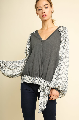 Surplice Top with a Printed Hen, Waist Tie and Long Puff Sleeve