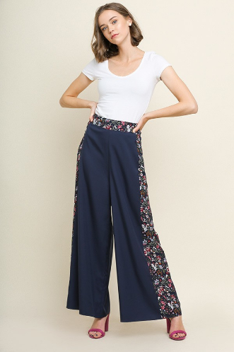 HIgh Waisted Floral Print Wide Leg Pant