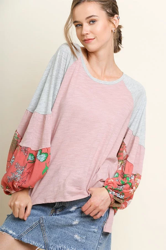 Floral Print Long Puff Sleeve Colorblock