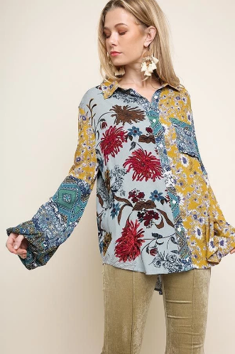 Multi-Floral and Paisley Print Long Puff Sleeve