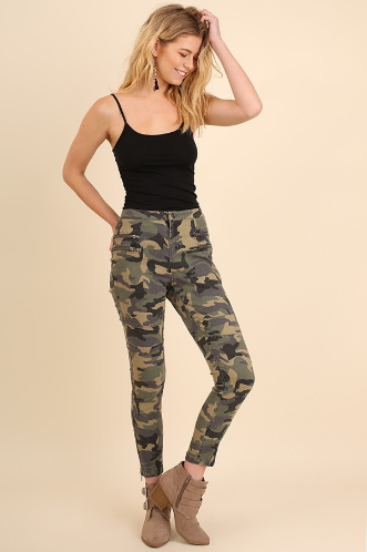 Camo Moto Pants with Zipper Front