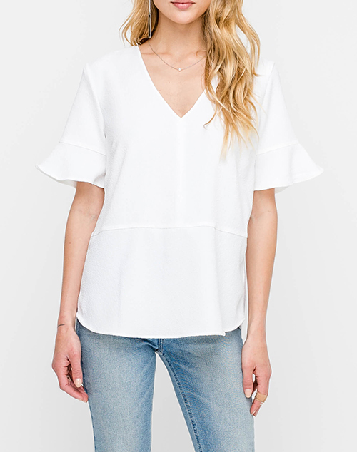 V Neck Ruffle Detail Sleeve Top
