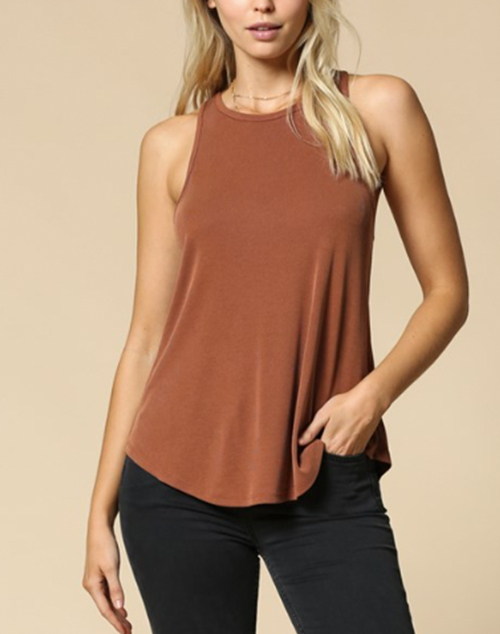 Cupro Fitted High Neck Ribbed Tank Top