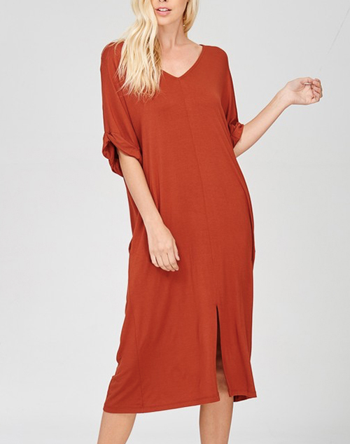 Short Sleeve Front Slit Dress With Pockets