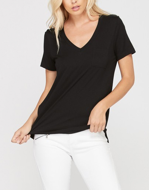 Short Sleeve Bamboo V Neck T Shirt