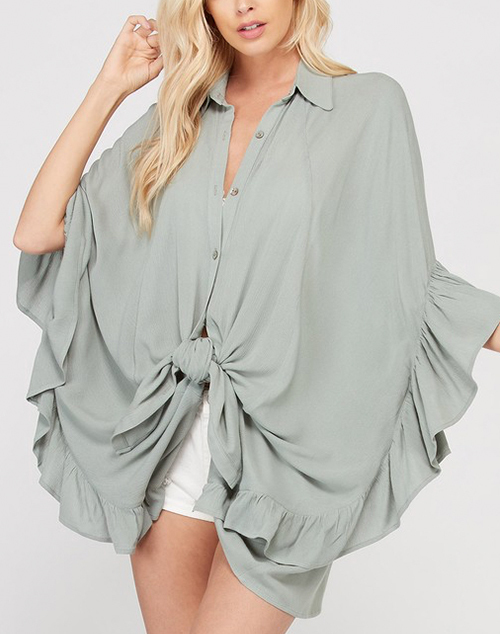 3/4 Length Ruffle Edge Tunic Blouse