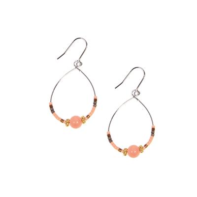 Silver Teardrop Hoop With Pink Beads