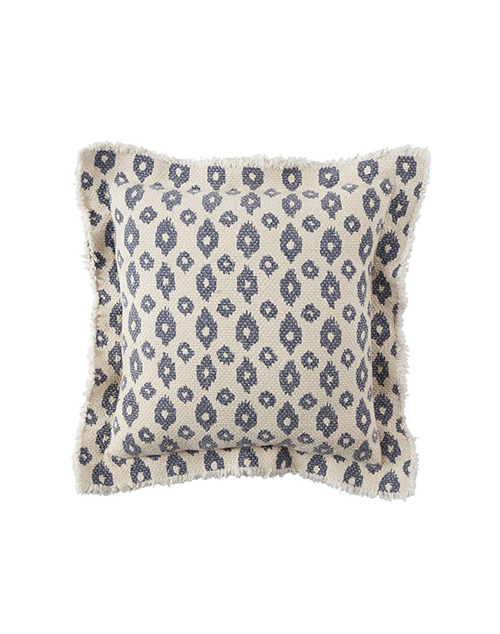 Ikat Dot Frayed Flange Pillow