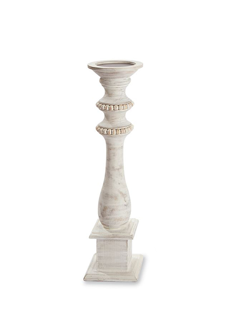 Medium Beaded Wood Candle Stick