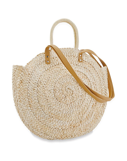 Large Straw Circle Tote Natural