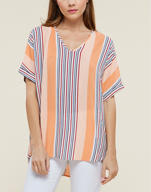 V Neck Drop Shoulder Loose Fit Top
