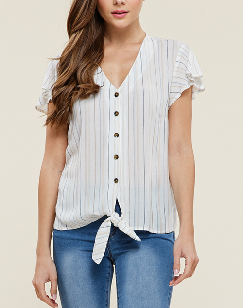 Tie Front Button Down Flutter Sleeve Top