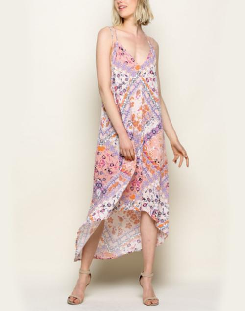 V Neck Strappy Patterned High Low Dress