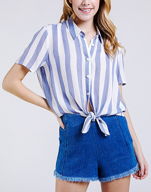 Tie front Short Sleeve Stripe Top