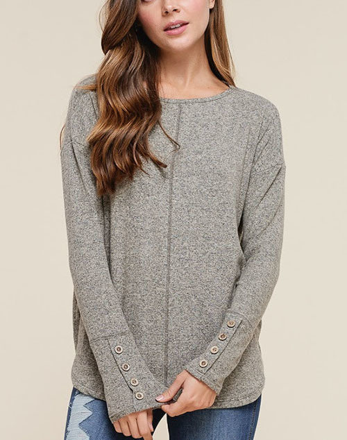 Boat Neck Long Sleeve Button Detailed Top