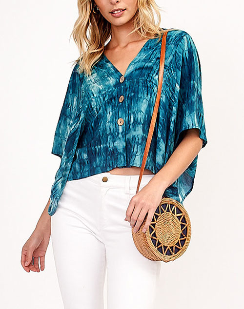Tie Dye Button Up Flowy Top
