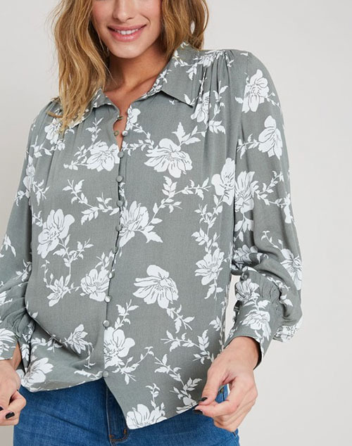 Long Sleeve Floral Print Button Down Top
