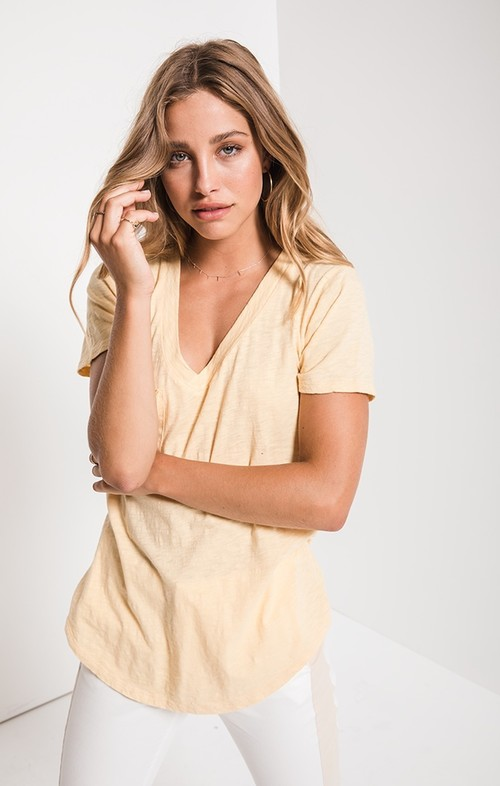 The Cotton Slub Pocket Tee Yellow Cream