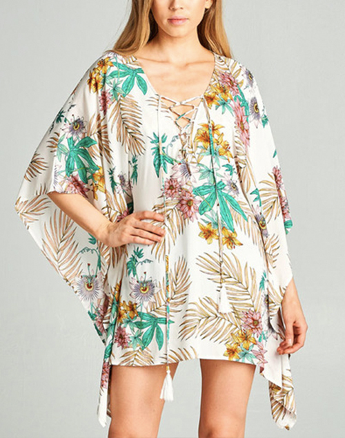 Floral Print Lace Up Tie Cover Up Dress