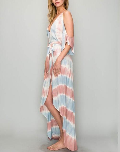 Tie Dye Cold Shoulder Wrap Tie Maxi Dress