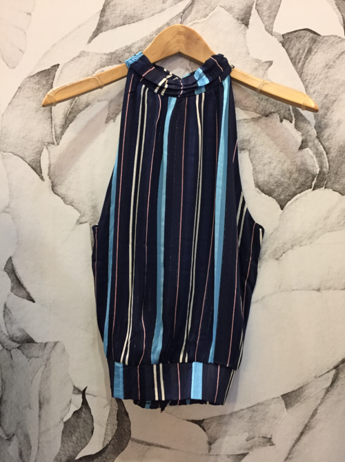 Navy Striped Tie Waist Halter Top