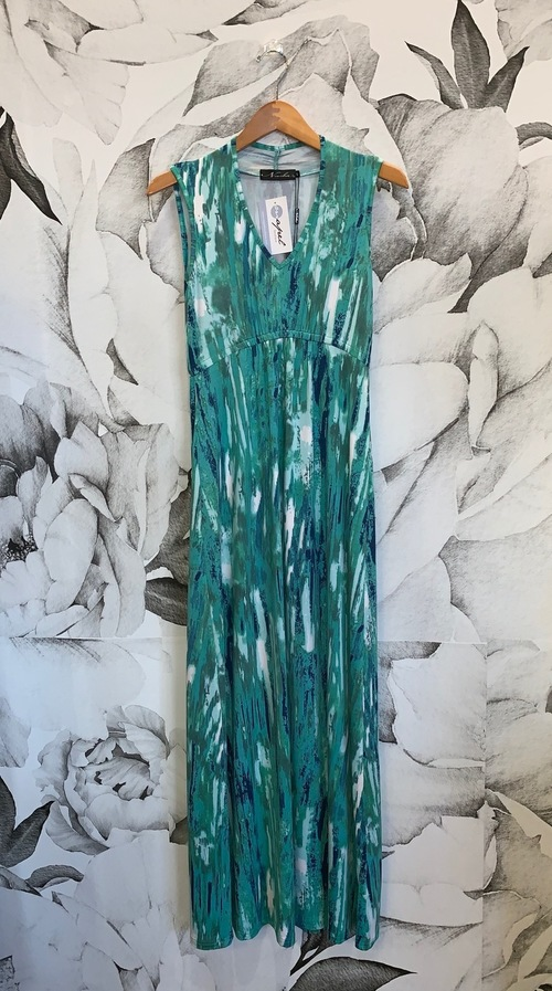 Green Maxi Gathered V Neck Dress