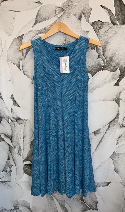 A Line Panel Dress Blue