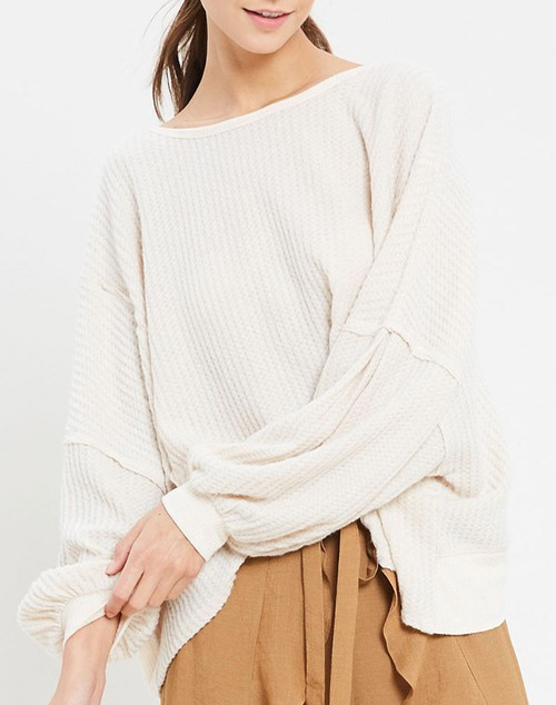 Oversized Thermal Open Back Knit Top