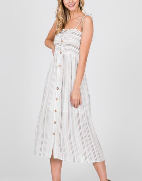 Striped Smocking  Button Down Spaghetti Strap Dress