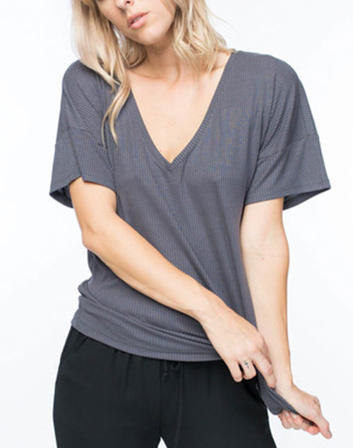 Basic V Neck Ribbed Tee
