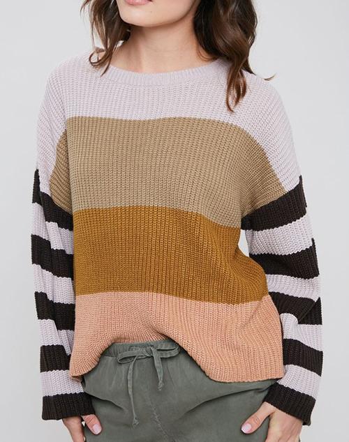 Color Block Pullover Knit Stripe Sweater