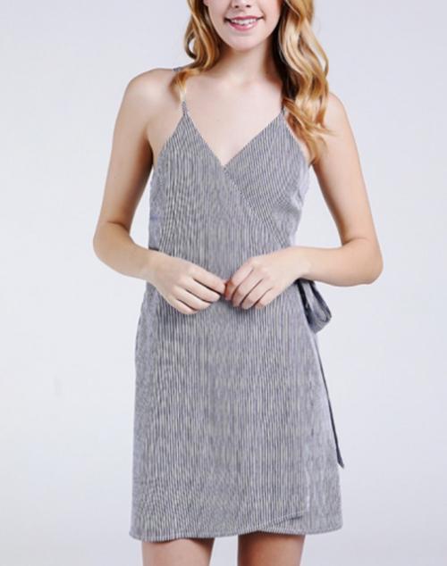 Stripe Woven Wrap Dress