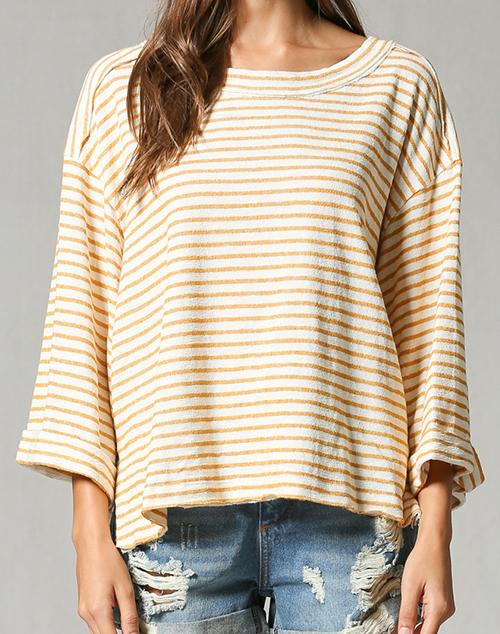 3/4 Sleeve Wide Arm Stripe Top
