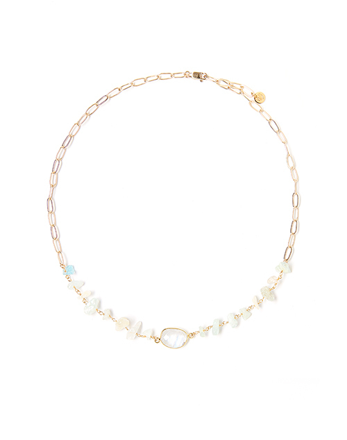 Rocky Sea Blue Small Necklace Gold Plated