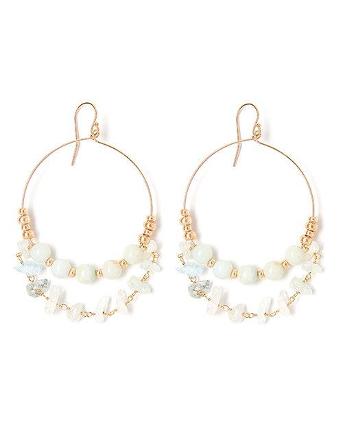 Rocky Sea Blue Hoop Earring Gold Plated