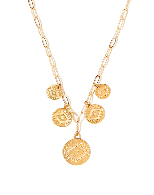 Multi Charm Bright Eye Necklace Gold Plated
