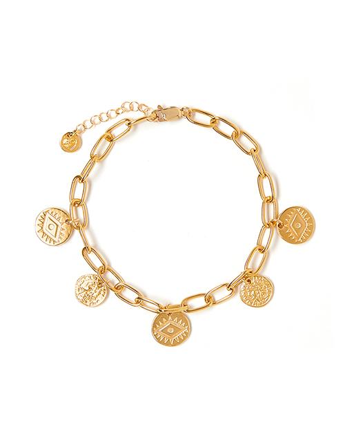 Multi Charm Bracelet Bright Eye Gold Plated