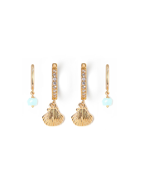 Shell + Blue Opal Huggie Earring Set Gold Plated