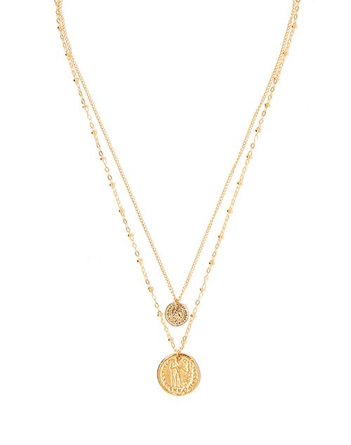 Duo Coin Charm Necklace Gold Plated