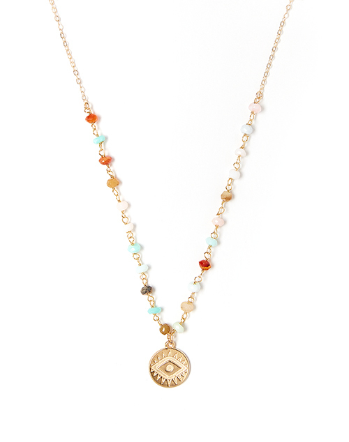 Bright Eye Multi Opal Necklace Gold Plated