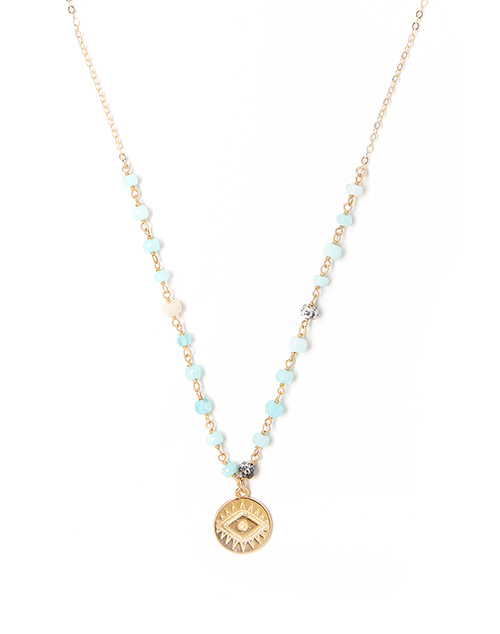 Bright Aqua Eye Necklace Gold Plated
