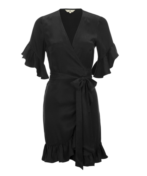 Silk Ruffle Wrap Dress