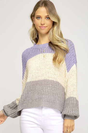 Long Bubble Sleeve Color Block Knit Sweater