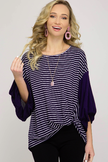 3/4 Ballooon Sleeve Stripe Knit Top