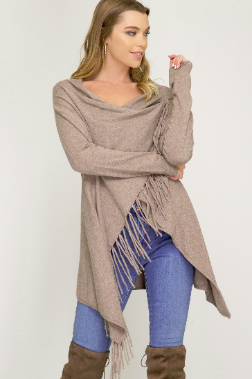 Long Sleeve Wrap Sweater with Fringe