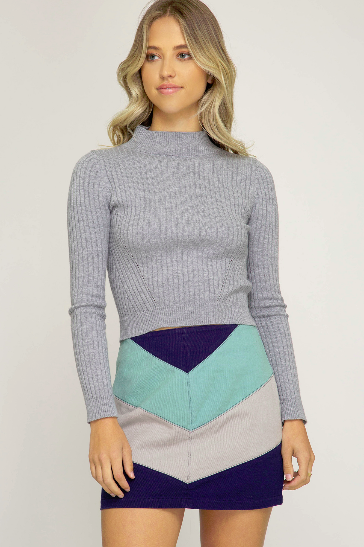Washed Chevron Color Block Skirt