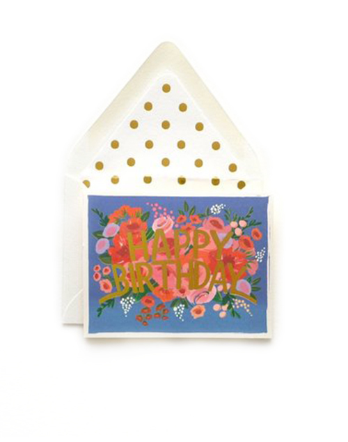 Blue Floral Crown Card